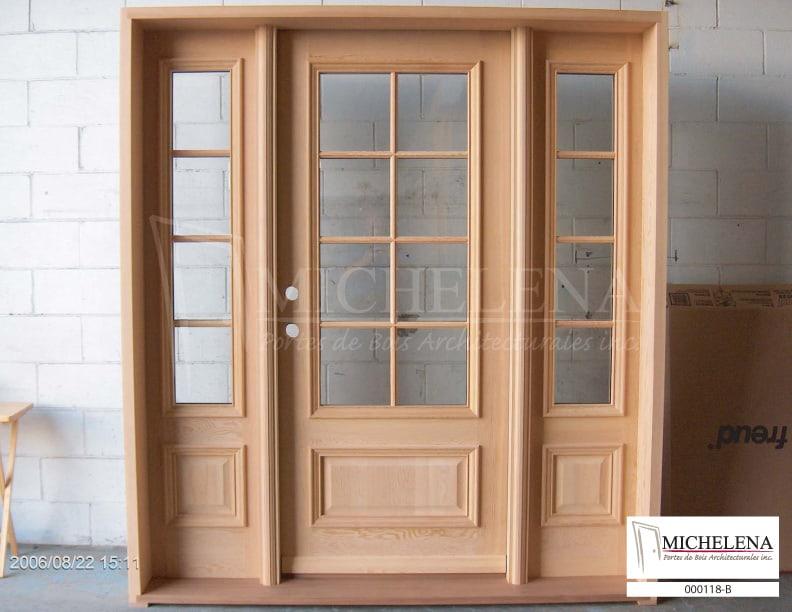000118 b porte bois exterieure exterior wood door michelena for Porte exterieure bois vitree