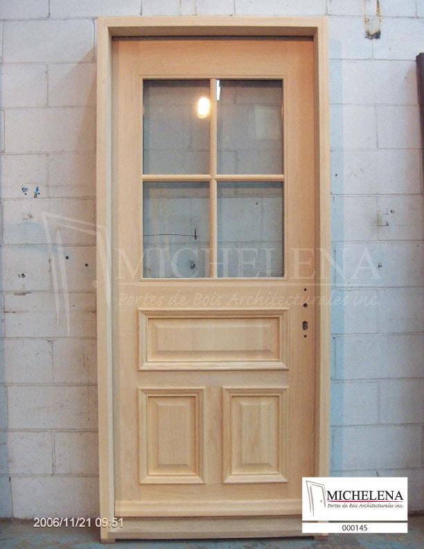 000145 porte bois exterieure exterior wood door michelena for Porte de service exterieure bois