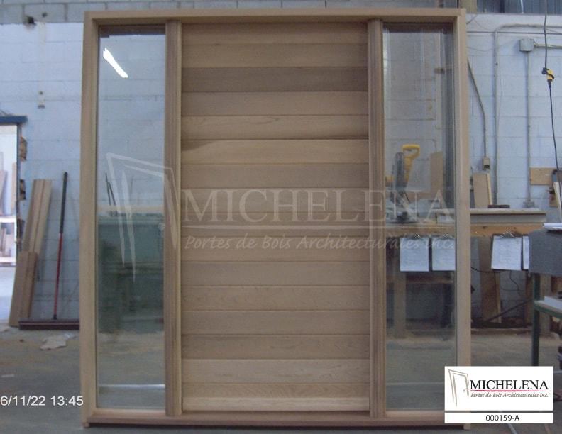000159 a porte bois exterieure exterior wood door michelena for Porte de service exterieure bois