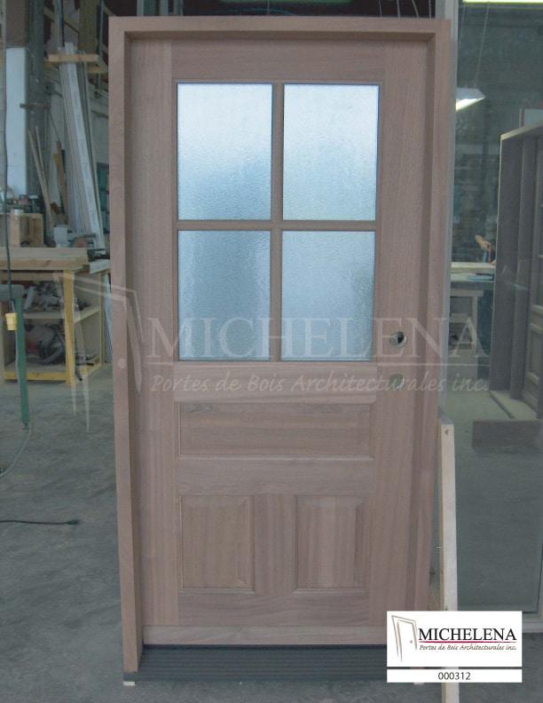 000312 porte bois exterieure exterior wood door michelena for Porte exterieure bois vitree