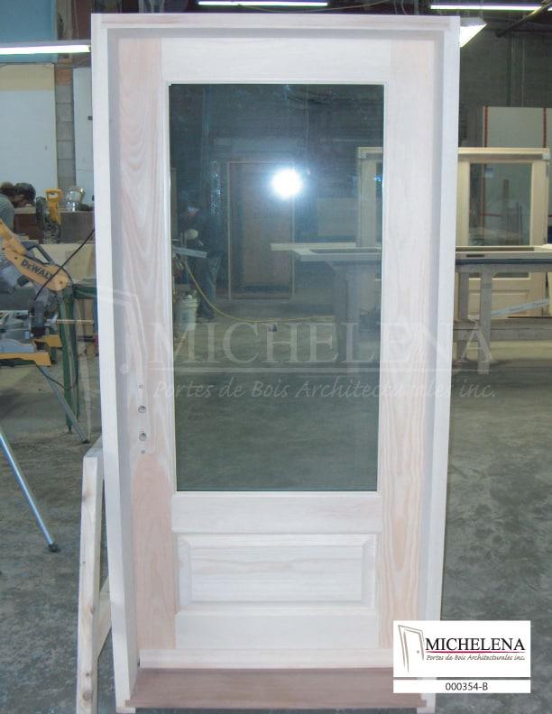 000354 b porte bois exterieure exterior wood door michelena for Porte exterieure bois vitree