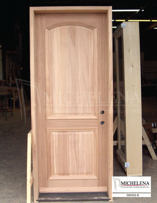 000456 b porte bois exterieure exterior wood door michelena for Porte exterieure bois vitree