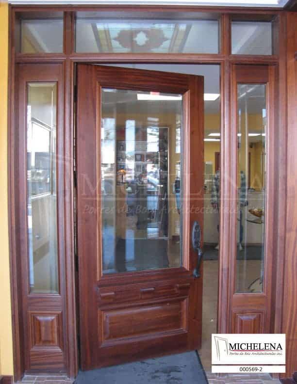 000569 2 porte bois exterieure exterior wood door michelena for Porte exterieure bois vitree