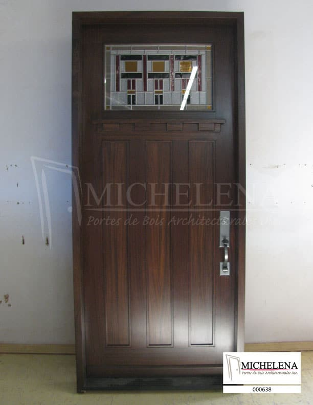 000638 porte bois exterieure exterior wood door michelena for Porte de service exterieure bois