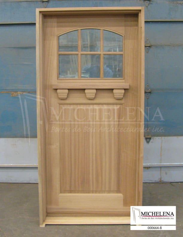 000664 b porte bois exterieure exterior wood door michelena for Porte exterieure bois vitree