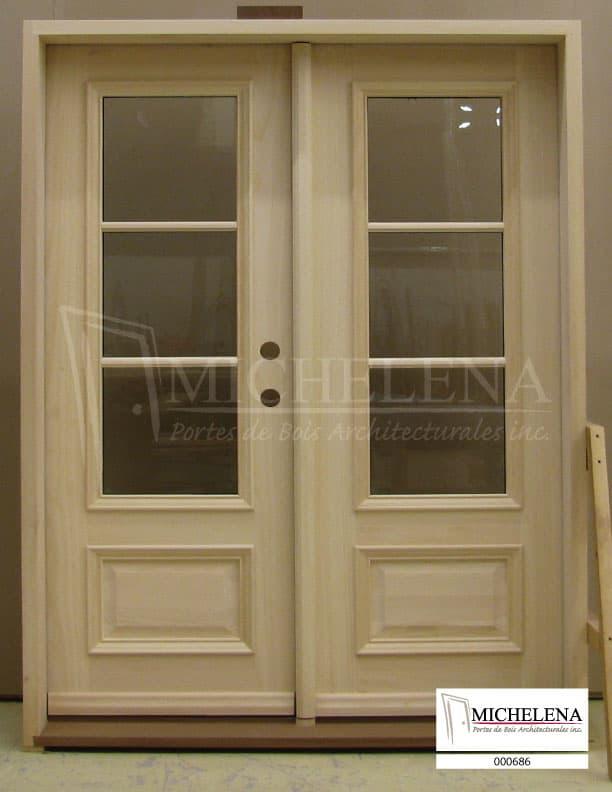 000686 porte bois exterieure exterior wood door michelena for Porte exterieure bois vitree