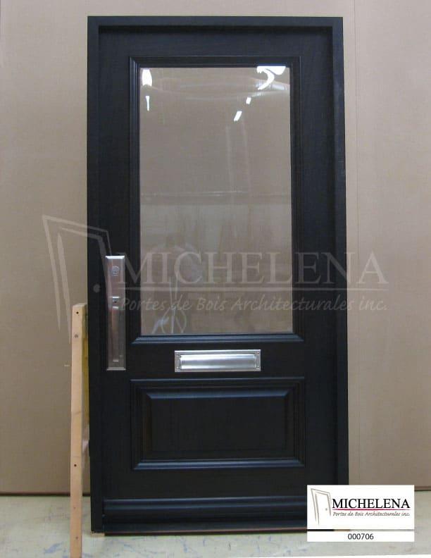 000706 porte bois exterieure exterior wood door michelena for Porte de service exterieure bois