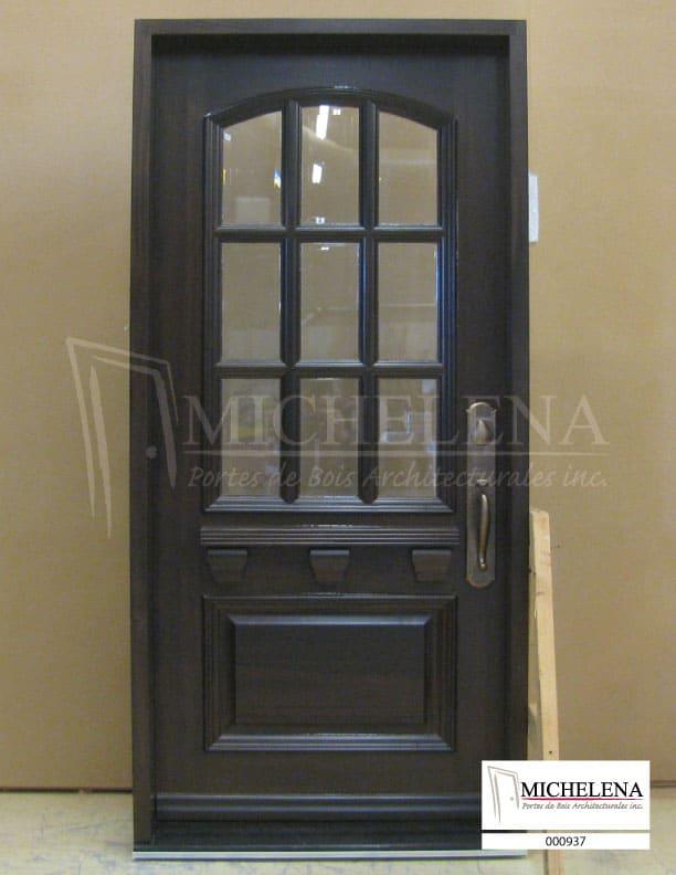 000937 porte bois exterieure exterior wood door michelena for Porte de service exterieure bois