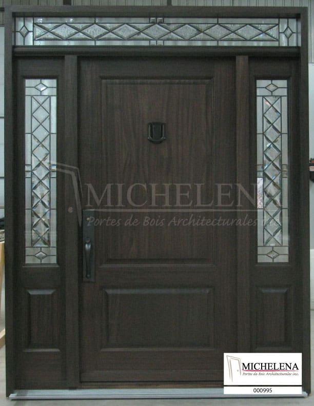 000995 porte bois exterieure exterior wood door michelena for Porte de service exterieure bois