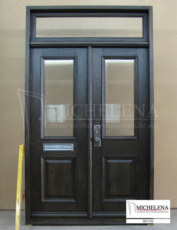 001103 porte bois exterieure exterior wood door michelena for Porte exterieure bois vitree