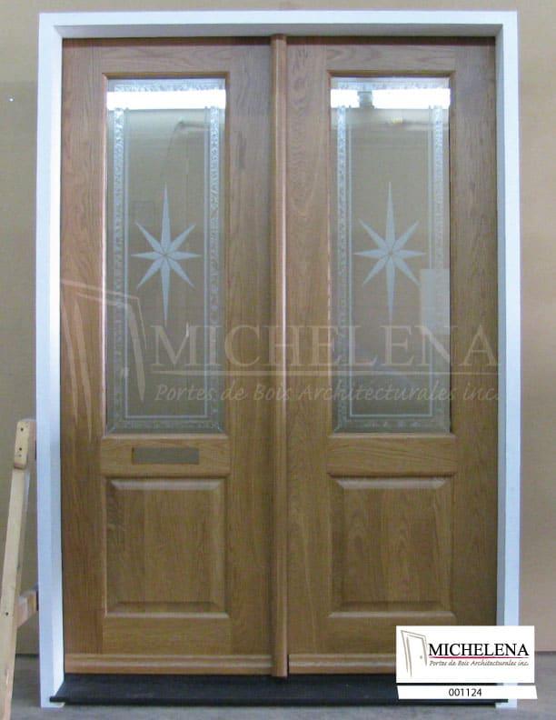 001124 porte bois exterieure exterior wood door michelena for Porte exterieure bois