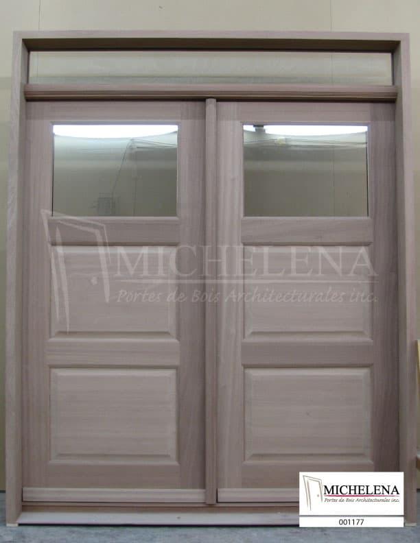 001177 porte bois exterieure exterior wood door michelena for Porte exterieure bois vitree