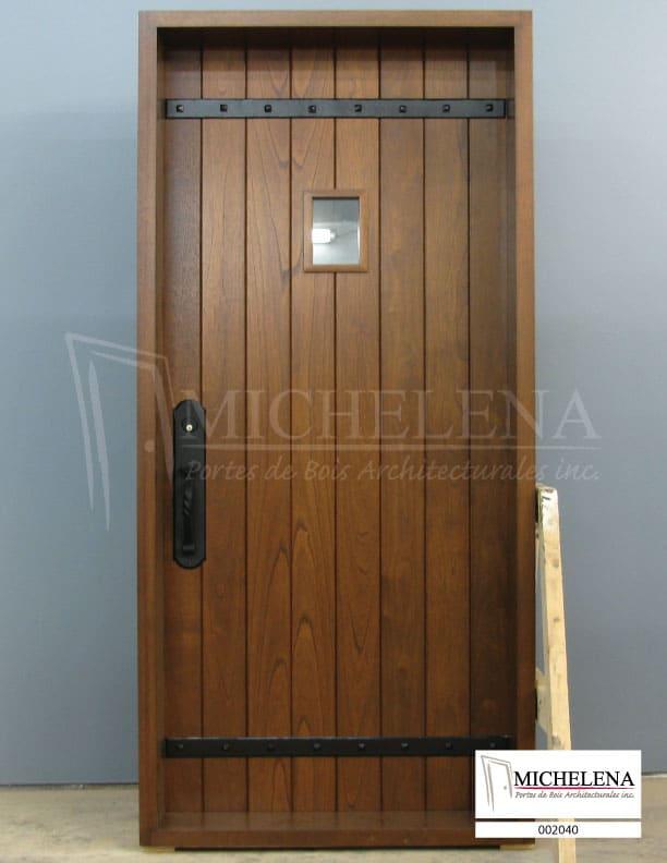 002040 porte bois exterieure exterior wood door michelena for Porte de service exterieure bois