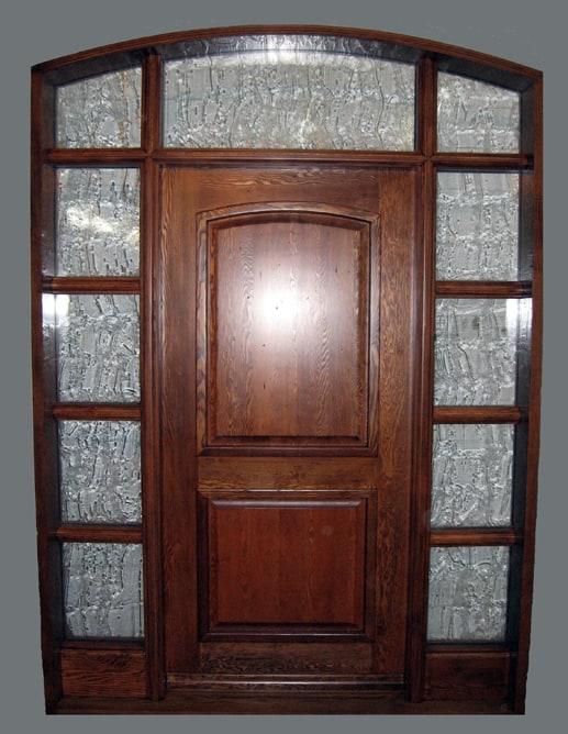 Porte extérieure B.C.Fir Grain régulier avec imposte et deux latéraux