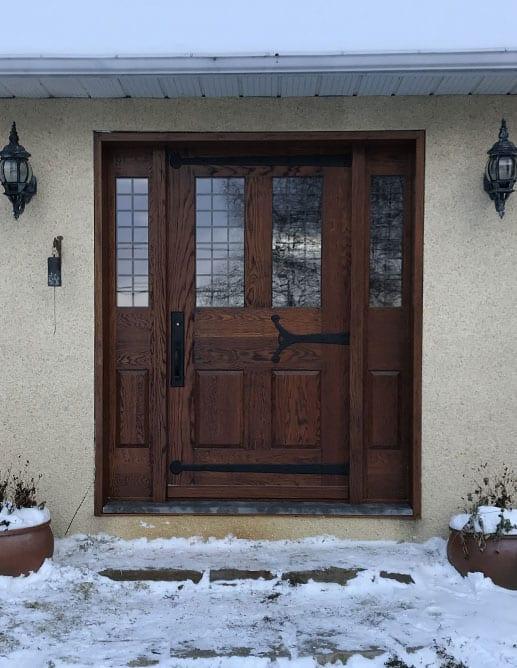 Porte Extérieur Chêne Blanc Grain Régulier Poignée à clenche mortaise métal style bouvet