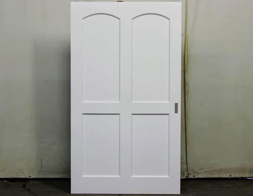 Porte pocket door en merisier massif