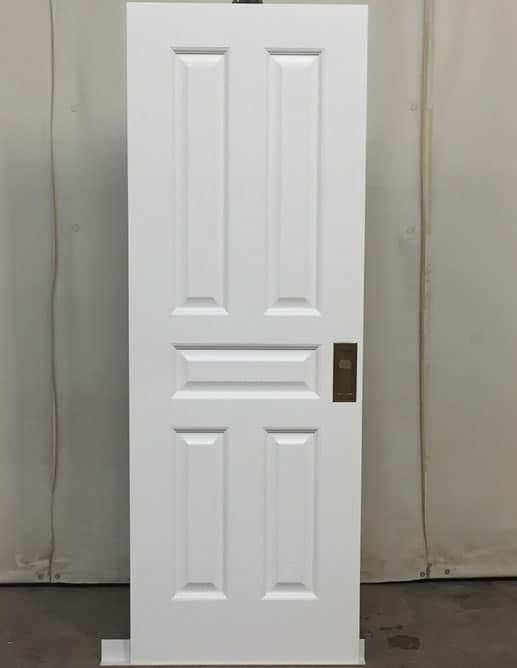 Porte Pocket door en bois massif à cinq panneaux ravalés standards