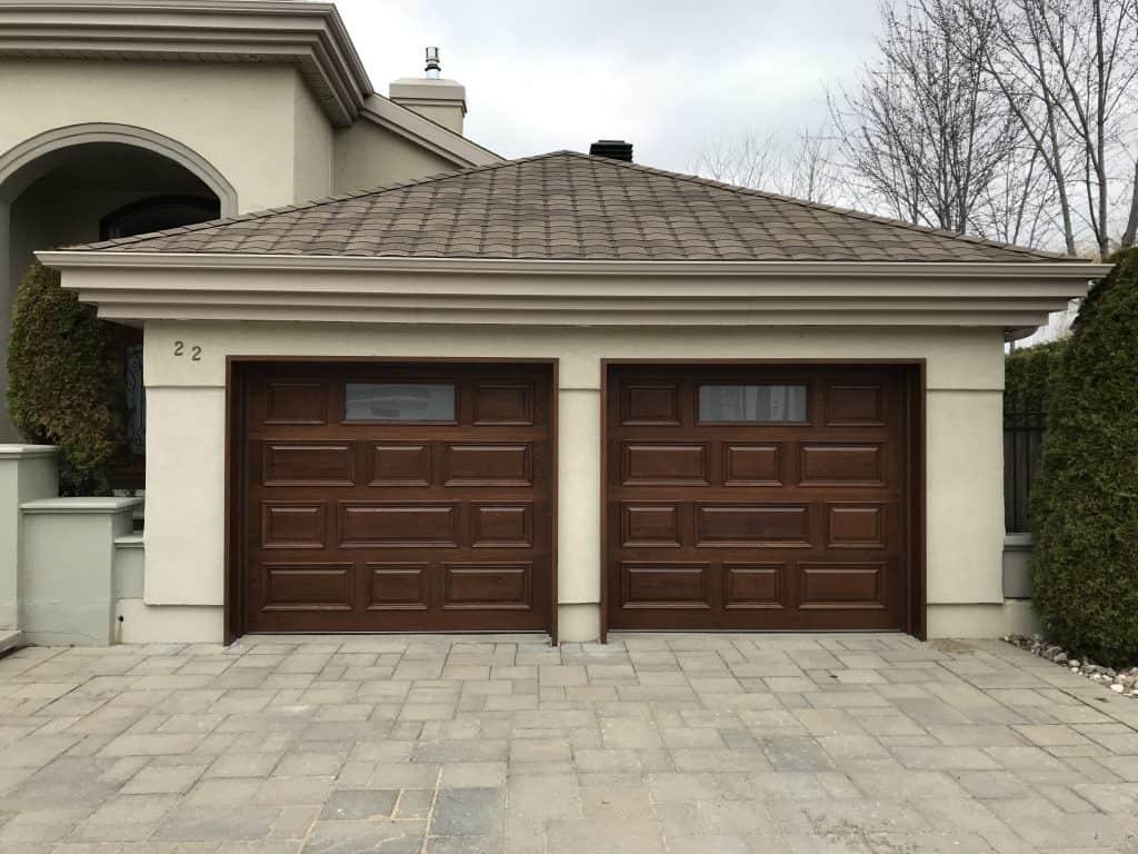 Portes de Garage Double avec Panneaux Asymétriques en Chêne Blanc