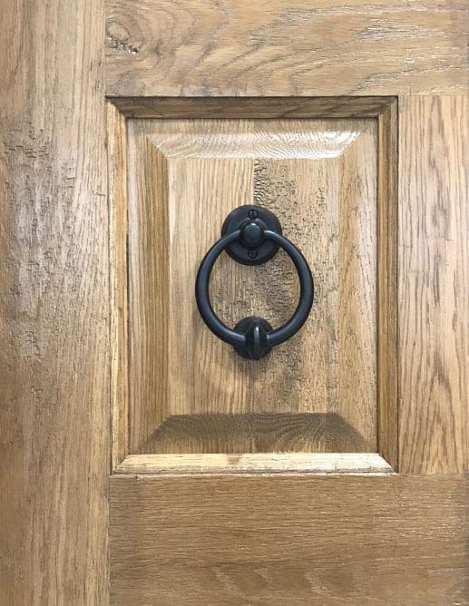 Porte Extérieur Chêne Blanc Grain Régulier Poignée Clenche Mortaise Octagon Emtek