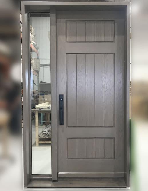 Porte Extérieur Chêne Blanc Grain Régulier Poignée Clenche Mortaise GS300