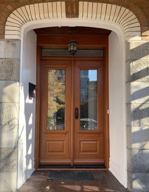 Porte Extérieur bois massif acajou sapele. Quincaillerie Poignée Knob Mortaise Métal Style Bouvet