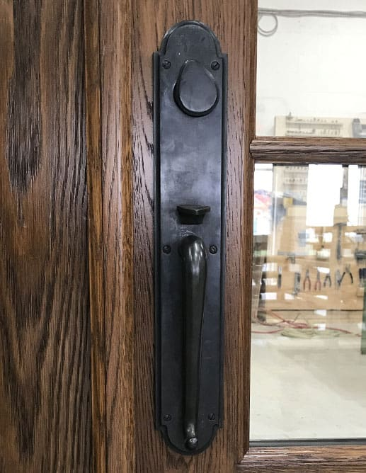 Porte Extérieur Chêne Blanc Grain Régulier Massif - Quincaillerie Poignée Clenche Mortaise Ashley Norton SPSGL
