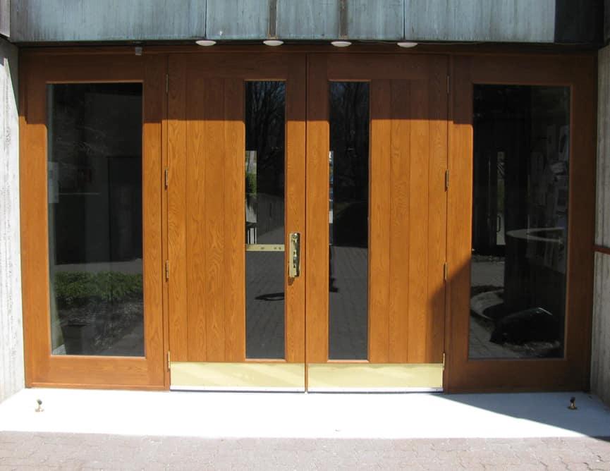 Porte Extérieur Chêne Blanc Grain Régulier Prémontée Double + 2 Latéraux Quincaillerie Multipoint